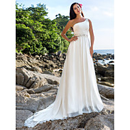 A-line/Princess Plus Sizes Wedding Dress - Ivory Chapel Train One Shoulder Chiffon