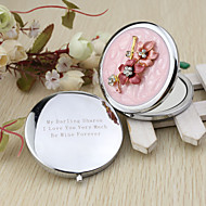 Personalized Pertty Flower Chrome Compact Mirror Favor