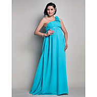 Lanting Floor-length Chiffon Bridesmaid Dress - Pool Maternity Sheath/Column One Shoulder