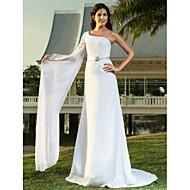 lanting vaina / columna más el tamaño de vestido de novia - marfil tren de barrido / cepillo de una gasa del hombro