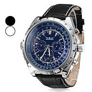 Heren Dress horloge mechanische horloges Automatisch opwindmechanisme Kalender Leer Band Luxueus Zwart Wit Zwart Blauw
