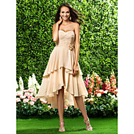 Homecoming / genou robe asymétrique en mousseline de demoiselle d'honneur - champagne tailles plus une ligne / princesse chérie / bustier