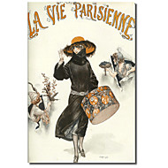 Printed Canvas Art Vintage Lavie Parisienne Hatbox by Vintage Apple Collection with Stretched Frame
