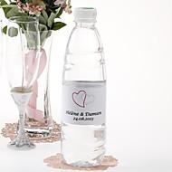 Gepersonaliseerde fles water sticker - Dubbel Hart (Roze / reeks van 15)