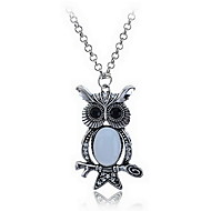 Fashion Jewelry Cute Big Opal Owl Pendant Necklace
