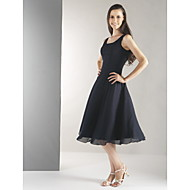 Lanting Knee-length Chiffon Bridesmaid Dress - Black Plus Sizes / Petite A-line Straps