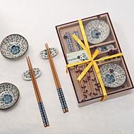 Herramientas de cocina(Rojo / Verde / Azul) -Tema Asiático / Tema Floral-No personalizado Plato / Palillos Chinos / Palillos chinosBambú