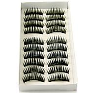 10 pares de fibra preta cílios postiços
