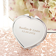 Personlig Heart Shaped Stainless Steel Compact Mirror Favor