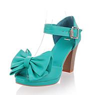 샌달 / 펌프스/힐 - 드레스 - 여성의 신발 - 토오픈 - 레더렛 - 청키 굽 - 그린 / 아이보리