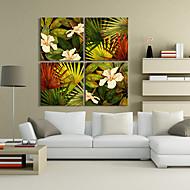 Reproducción en lienzo de arte Botánica Floral y hojas Conjunto de 4