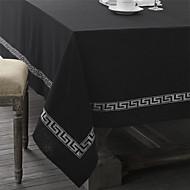 Noir / Argent Lin Rectangulaire Nappes de table
