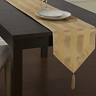 Classique Polyester Jacquard Kaki Chemins de table à rayures
