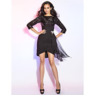 TS Couture Cocktail Party /  Dress - Black Plus Sizes / Petite Sheath/Column Bateau Short/Mini / Asymmetrical Chiffon / Sequined