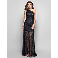 TS Couture® Formal Evening / Military Ball Dress - Black Plus Sizes / Petite Sheath/Column One Shoulder Floor-length Lace