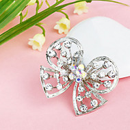 Women's  Butterfly Hollow Silver Plated Rhinestone Brooch