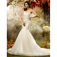 Lanting Bride® Fit & Flare Petite / Plus Sizes Wedding Dress - Classic & Timeless / Elegant & LuxuriousWedding Dresses With Wrap /