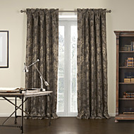 (Two Panels) Jacquard Brown Gardern Blackout Curtain