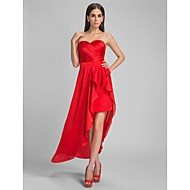 Cocktail Party/Formal Evening Dress - Ruby Plus Sizes Sheath/Column Sweetheart Asymmetrical Satin Chiffon