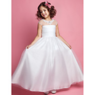 A-line Princess Floor-length Flower Girl Dress - Tulle Jewel with Appliques Beading Ruching