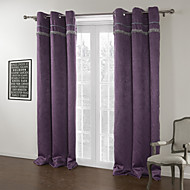 Modern Two Panels Solid Purple Living Room Polyester Blackout Curtains Drapes