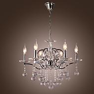 lustre de cristal elegante com 6 luzes