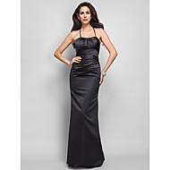 저녁 정장파티/밀리터리 볼 드레스 - 블랙 트럼펫/멀메이드 바닥 길이 스파게티 스트랩 사틴 플러스 사이즈