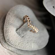 반지 일상 보석류 크리스탈 합금 여성 밴드 반지 1PC,8½ 골든