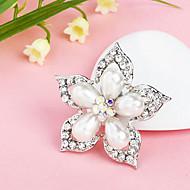 kvinnors silverpläterade pärla blomma strass brosch