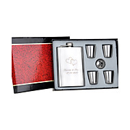 Gift Groomsman Personalized 6 Pieces Silver Stainless Steel 9-oz Flask Gift Set