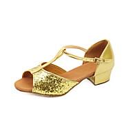 Non Customizable Women's/Kids' Dance Shoes Latin/Ballroom Sparkling Glitter Chunky Heel Silver/Gold/Fuchsia