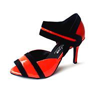 Customizable Women's Dance Shoes Latin/Ballroom Leatherette Customized Heel Yellow/Red/Fuchsia