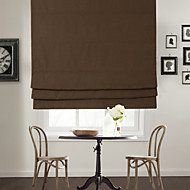 TWOPAGES® Modern Brown Solid Polyester Roman Shade