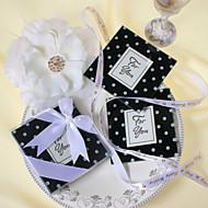 """""""A modificação pontilha"""" Black & White Polka-Dot Vidro Foto Coasters favor (conjunto de 2)"""
