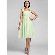 Knee-length Chiffon Bridesmaid Dress - Sage Plus Sizes A-line Straps