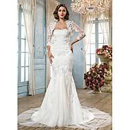 Lanting Trumpet/Mermaid Plus Sizes Wedding Dress - White Court Train Scalloped-Edge Tulle