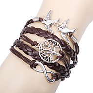 leather Charm Bracelets Alloy Love Birds Life Tree and Infinity Handmade Leather Bracelet inspirational bracelets Christmas Gifts