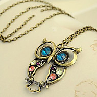 Lovely Alloy With Rhinestone Owl Shaped Necklaces