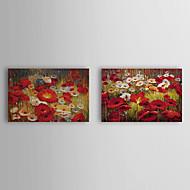 Mão óleo Pintado Popies Floral com esticada Frame Set de 2 1309C-FL0856