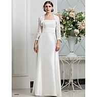 Lanting Sheath/Column Plus Sizes Wedding Dress - Ivory Floor-length Spaghetti Straps Lace/Stretch Satin