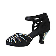 Customizable Women's Dance Shoes Latin/Ballroom Satin Customized Heel Black