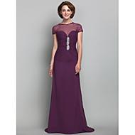 Dress - Grape Sheath/Column Jewel Sweep/Brush Train Chiffon/Tulle