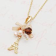 Women's Diamond bow ribbon Eiffel Tower necklace N505