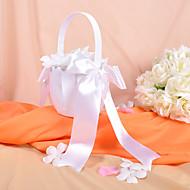 classica ragazza cesto di fiori in raso bianco con archi