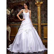 Lanting Bride A-line / Princess Petite / Plus Sizes Wedding Dress-Sweep/Brush Train Halter Organza