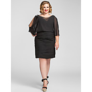 TS Couture® Cocktail Party / Holiday Dress - Elegant Plus Size / Petite Sheath / Column V-neck Knee-length Chiffon with Beading / Ruching