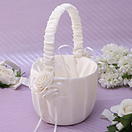 Elegant Flower Basket In Ivory Satin With Flower Flower Girl Basket