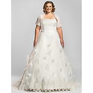 Lanting Bride® A-line Petite / Plus Sizes Wedding Dress - Classic & Timeless / Glamorous & Dramatic Wedding Dresses With Wrap Chapel Train