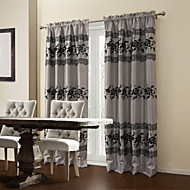 (Two Panels) Flocking Floral Blooming Room darkening Curtain