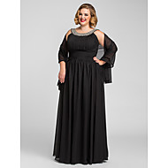 TS Couture® Formal Evening / Prom / Military Ball Dress - Black Plus Sizes / Petite A-line Jewel Floor-length Chiffon
